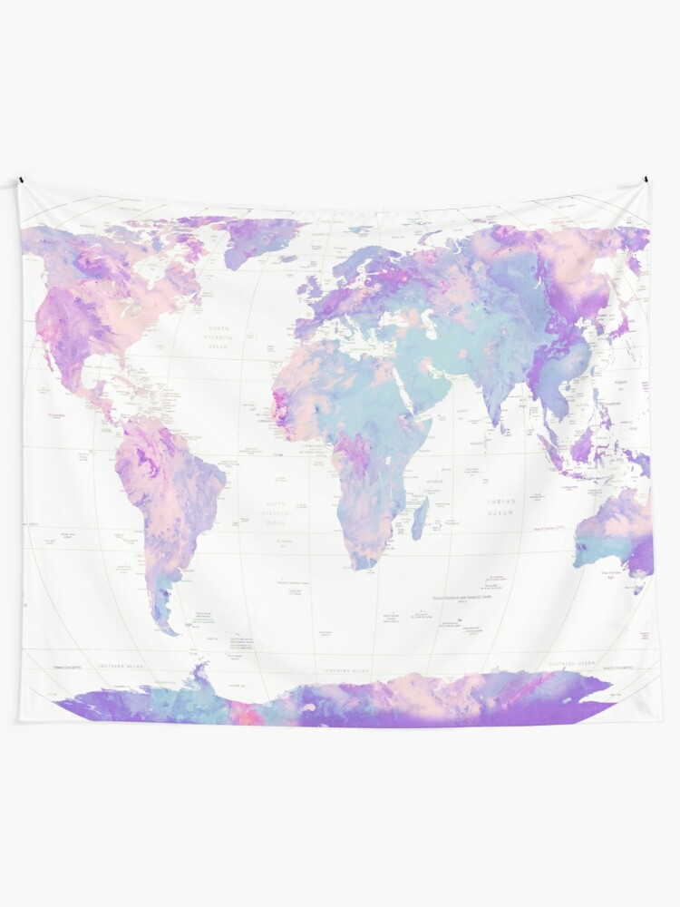 Alternate view of Unicorn Earth Map Tapestry