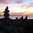 Rock Piles at Sunset. by MeBoRe