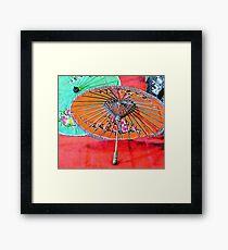 Orange and Green Oriental Parasols Framed Print