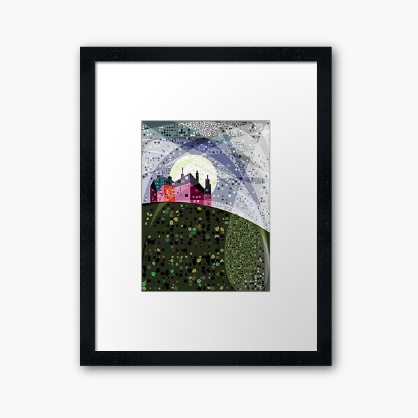 Red House on Starry Night Framed Art Print