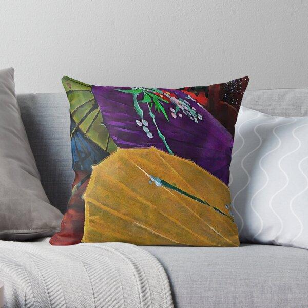 Japanese Parasol Harmony Throw Pillow
