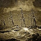 A digital painting of A White Star Liner Crossing the Atlantic 19th century by Dennis Melling