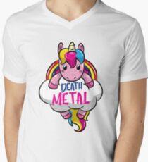 Death Metal Einhorn für Heavy Metal Unicornio Liebhaber T-Shirt mit V-Ausschnitt für Männer