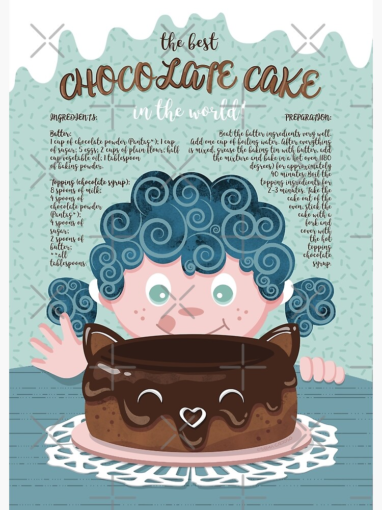 The best chocolate cake recipe // dark hair sweet little girl | Greeting  Card