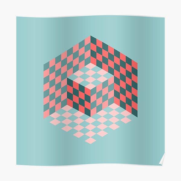 Vasarely cube en corail et sarcelle Poster