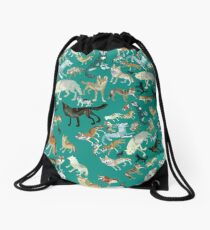 Wolves of the World (Green pattern) Mochila de cuerdas