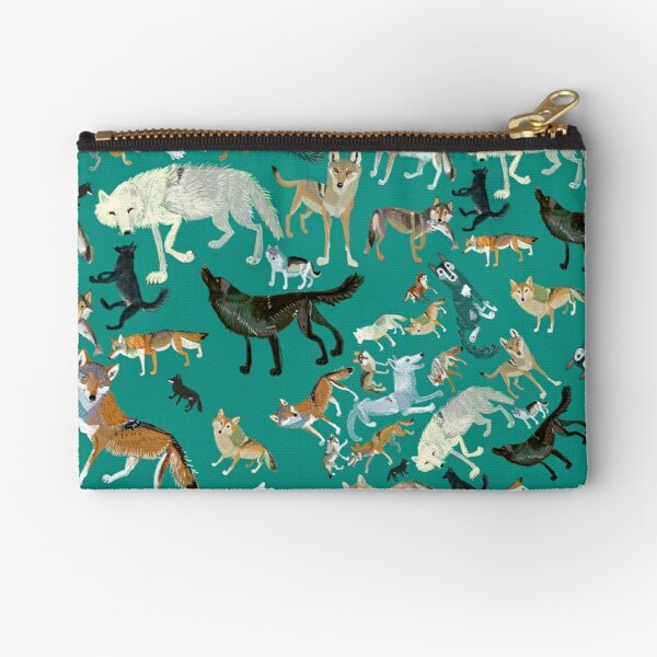 Wolves of the World (Green pattern) Zipper Pouch