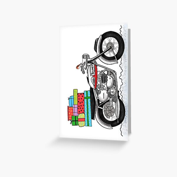 Christmas Presents on a Motorbike Greeting Card