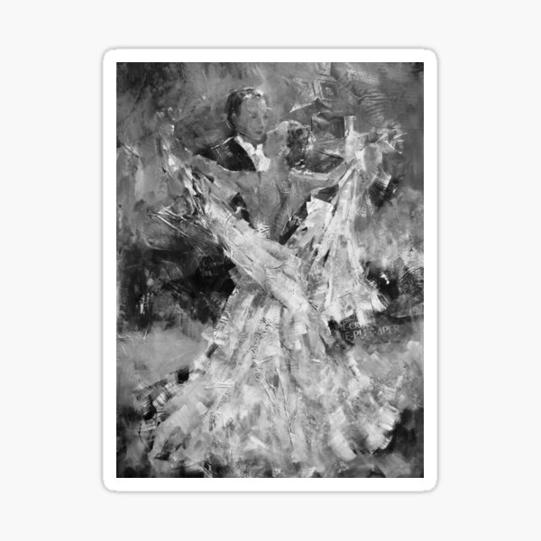Black and White Ballroom Dancing Art - Waltzing Couple Sticker