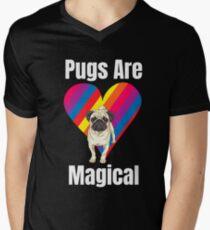 Pugs Are Magical Funny Dog Lover T-Shirt Gift: | Rainbow | Dog Parks | Gift For Pug Lovers Men's V-Neck T-Shirt