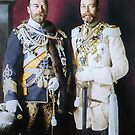 Tsar Nicholas II and King George V in German military uniforms, Berlin, 1913 by Marina Amaral