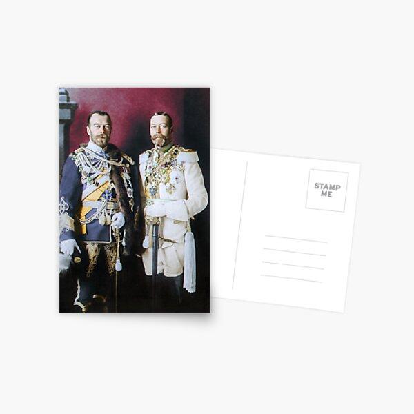 Tsar Nicholas II and King George V in German military uniforms, Berlin, 1913 Postcard