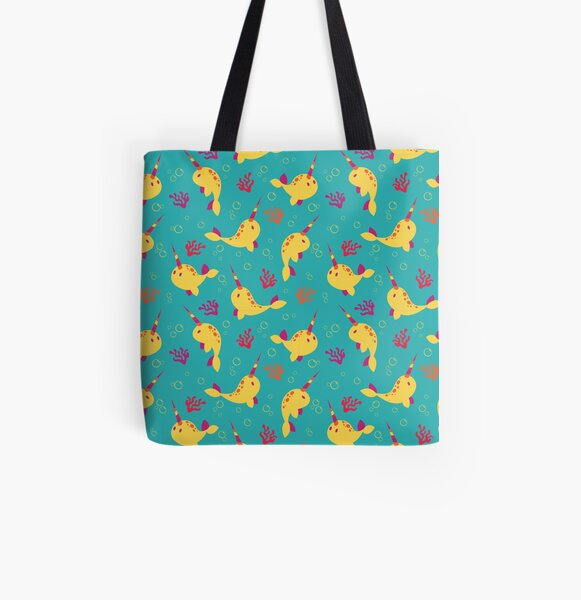To the Window to the Narwhal - Lemon & Blue All Over Print Tote Bag