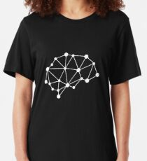 Integrated Brain - White on Black Slim Fit T-Shirt