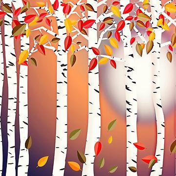 Autumn Birch Forest by RoxanneG
