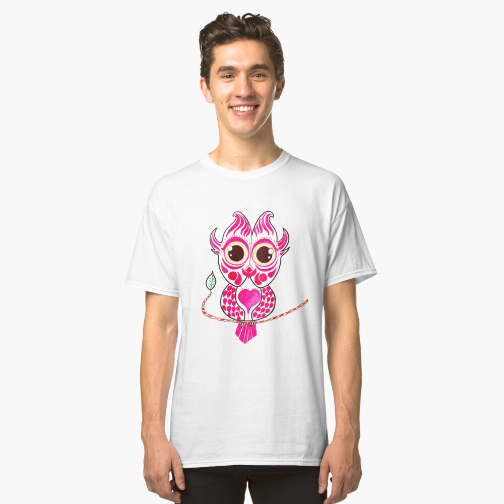 Watercolor Art | Pink Owl Classic T-Shirt Front