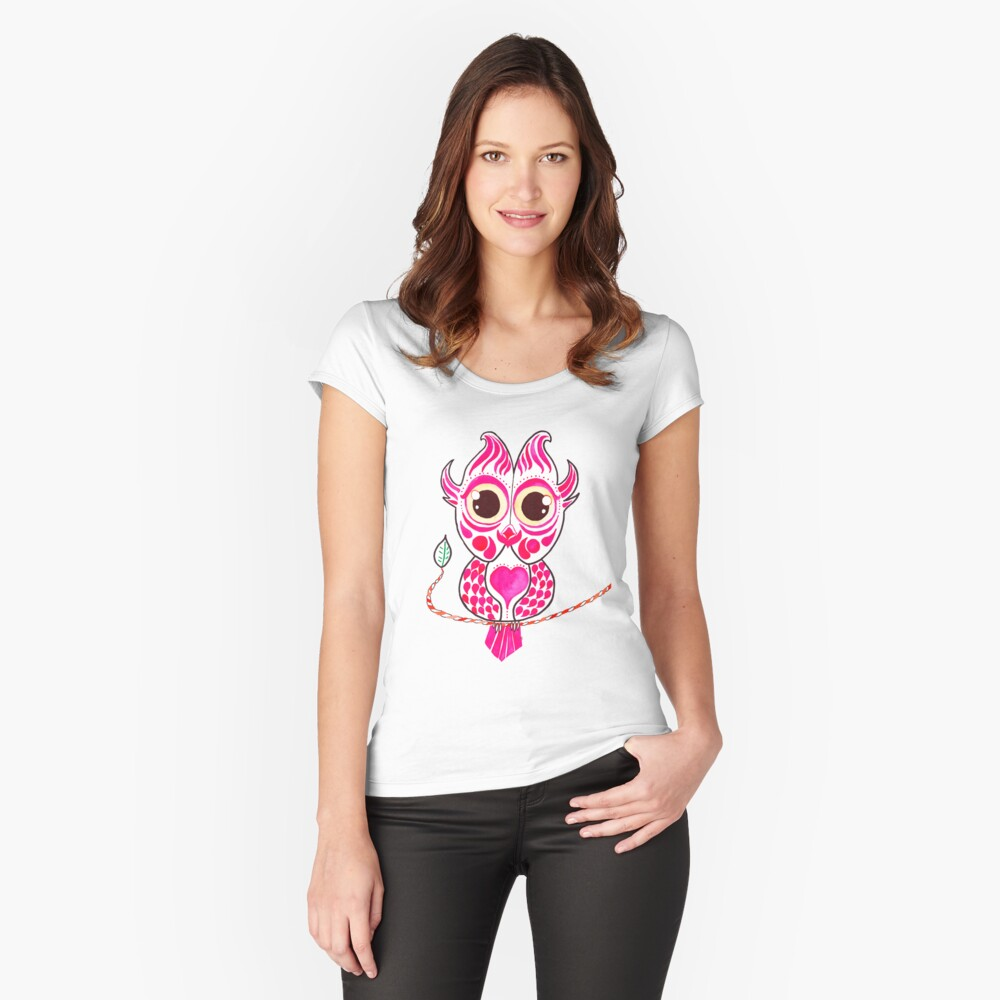 Watercolor Art | Pink Owl Women's Fitted Scoop T-Shirt Front
