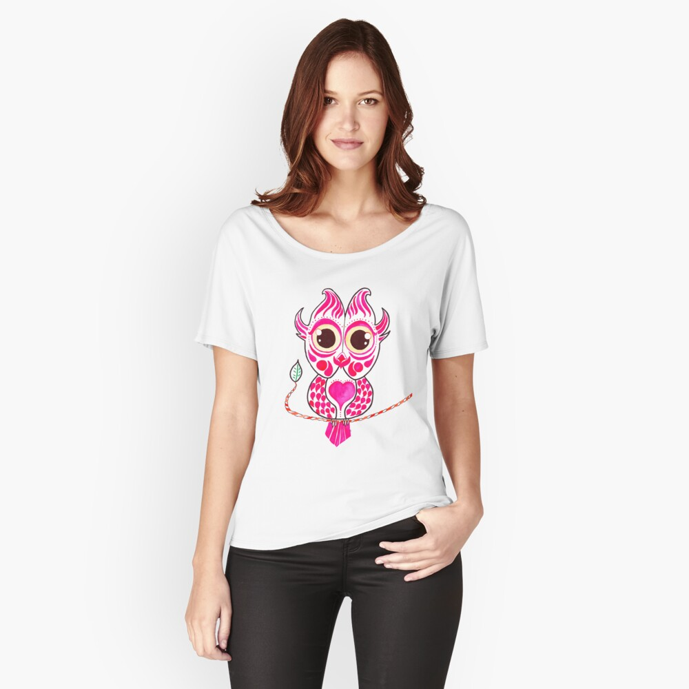 Watercolor Art | Pink Owl Women's Relaxed Fit T-Shirt Front