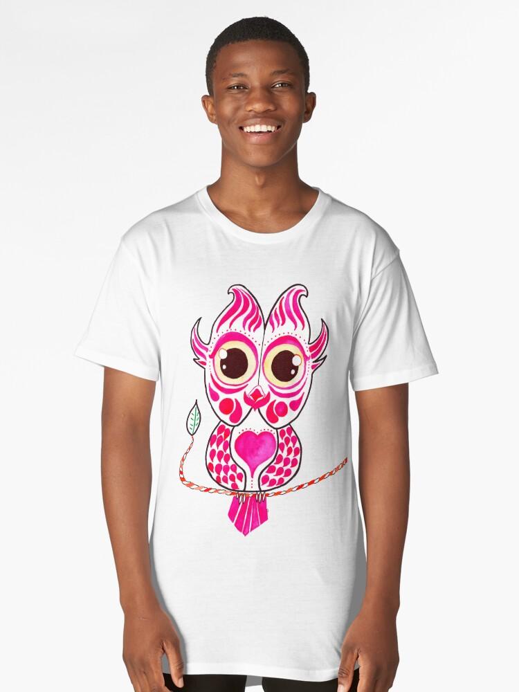 Watercolor Art | Pink Owl Long T-Shirt Front