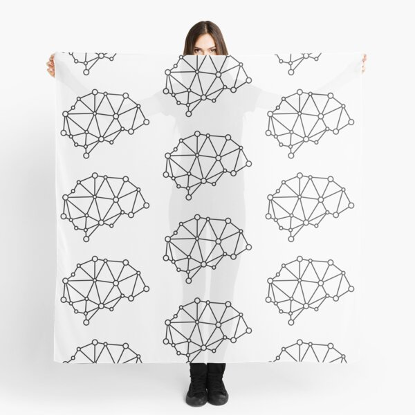 Integrated Brain - Black on White Scarf