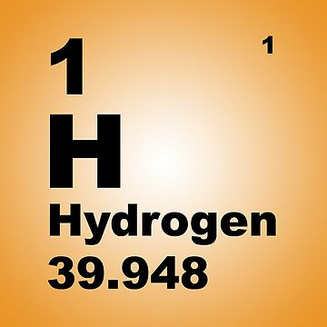 Orange Gradient Color Tile Block Hydrogen Periodic Table of Elements by walterericsy