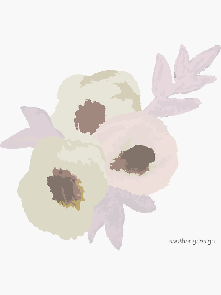 Watercolor Florals-purple and brown by southerlydesign