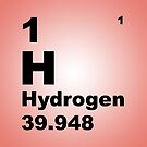 Salmon Pink Gradient Color Tile Block Hydrogen Periodic Table of Elements by walterericsy