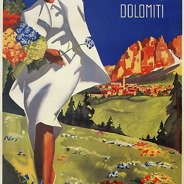 Vintage Italian Alps Cortina summer travel advert by aapshop