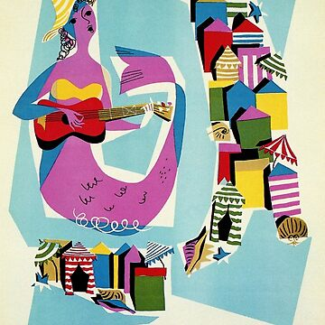 Retro naive cubist Italian beaches, mermaid travel ad by aapshop