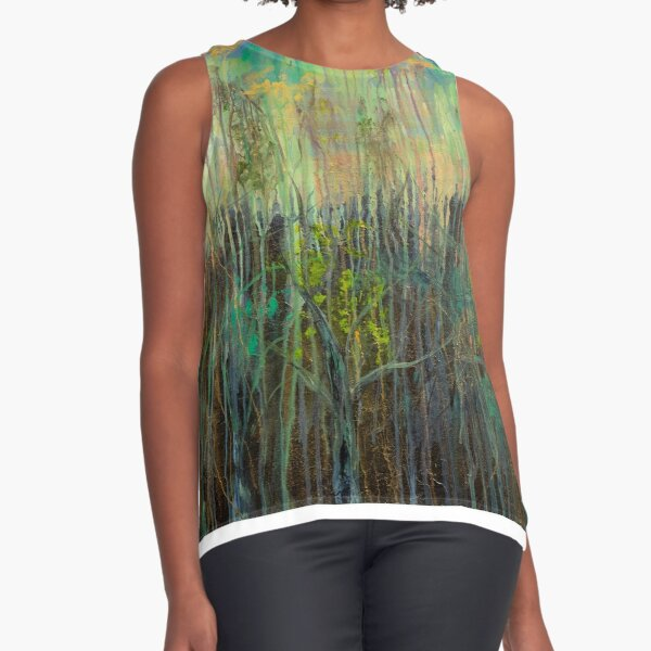 Ethereal Forest Abstract Sleeveless Top