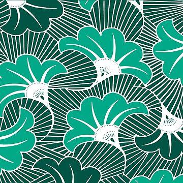 Wax Flower Pattern blue by PictoYou