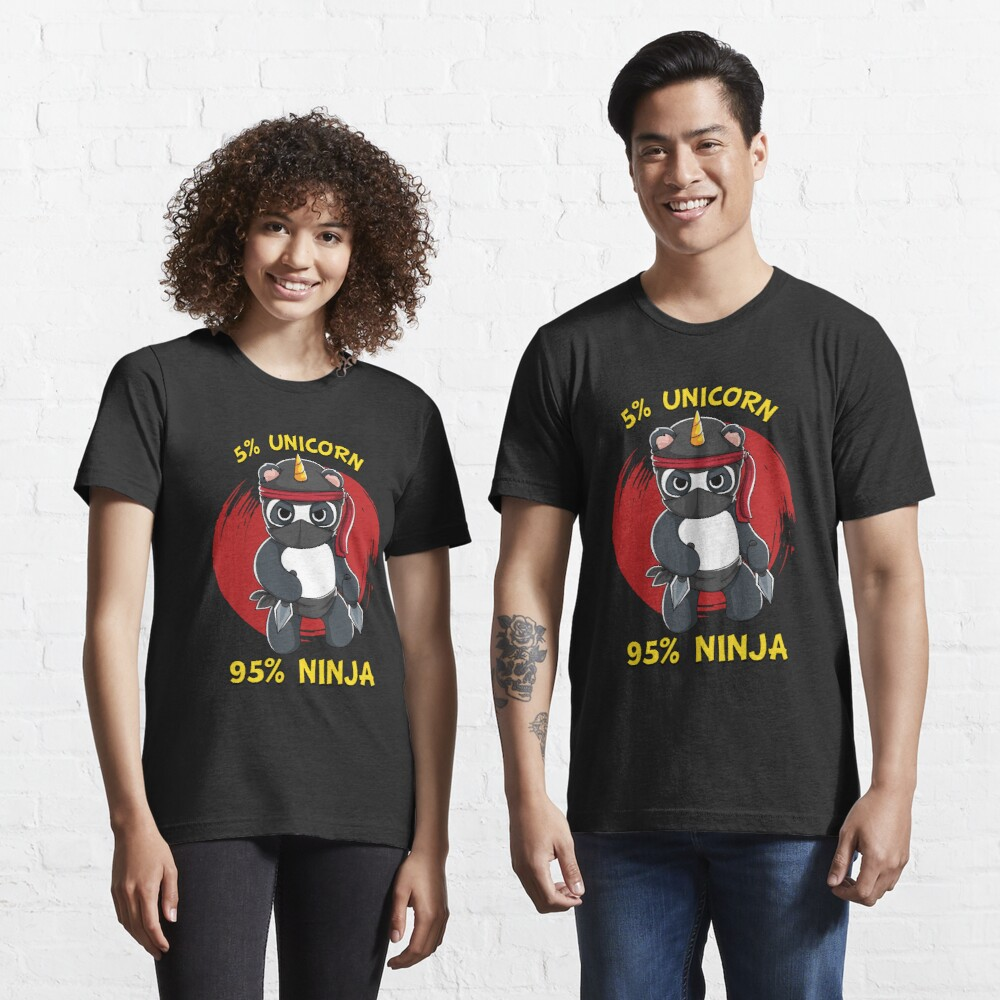 1Tee Homme 5/% Licorne 95/% Ninja Panda T-Shirt