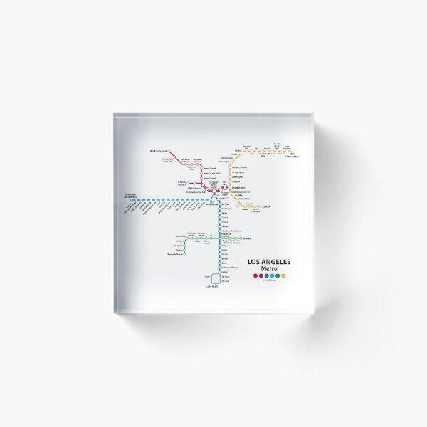 LOS ANGELES Metro Map Acrylic Block