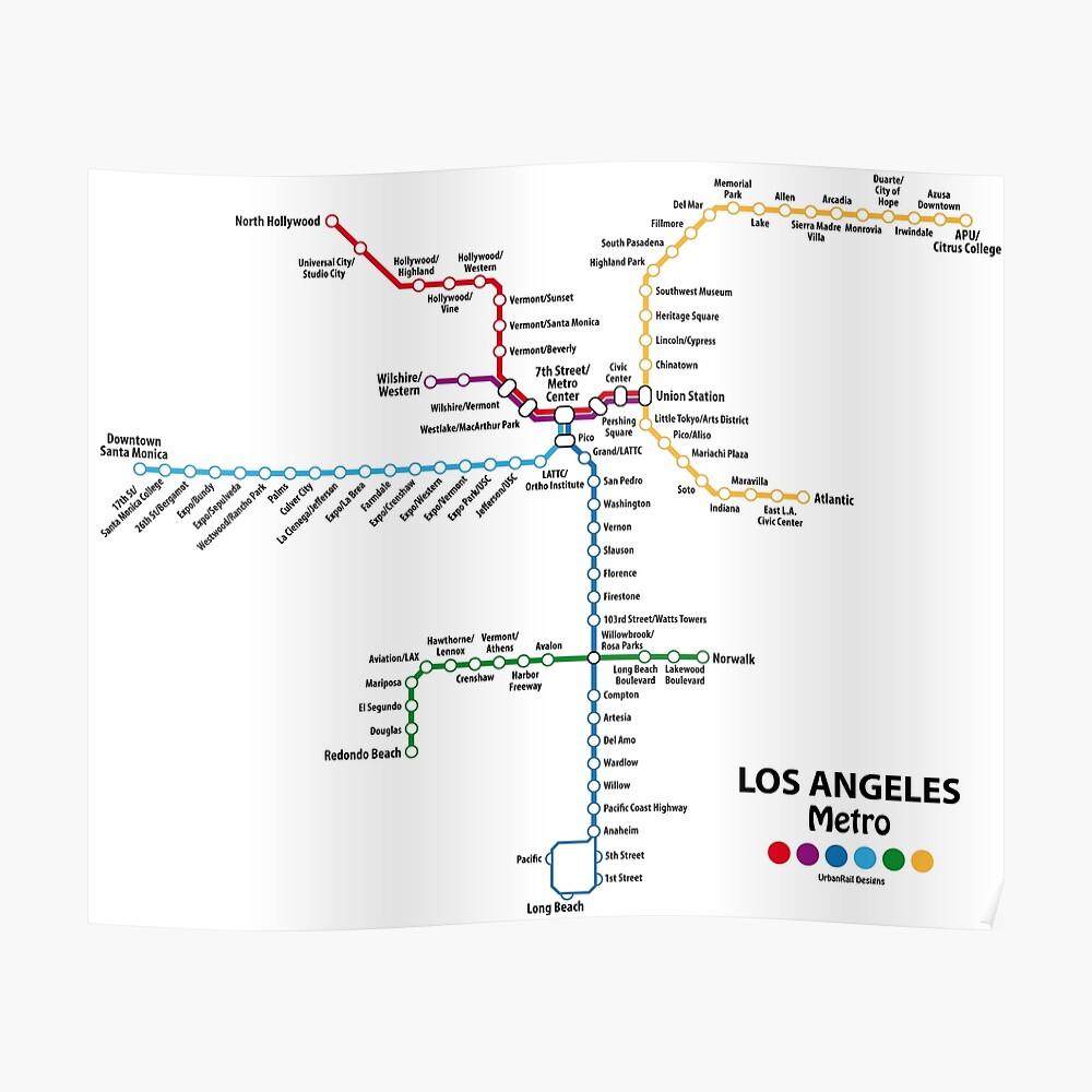 Santa Monica Subway Map.Los Angeles Metro Map Poster