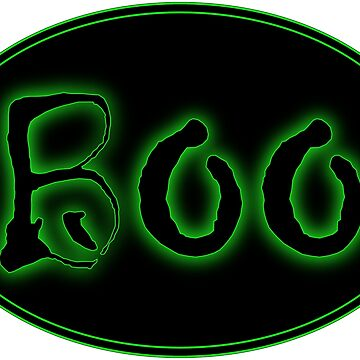 Glowing Green Halloween Boo Bar Sign by gkillerb