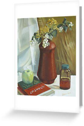 Ceramics vase and books by Elena Oleniuc