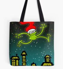 Christmas Frog Jumping out of Joy! Tote Bag