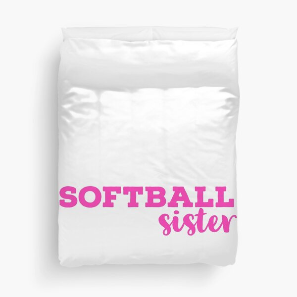 Softball Sister Pink Typography  Duvet Cover