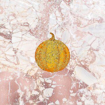 Luxury Glittering Autumn Halloween Pumpkin on Marble by cadinera