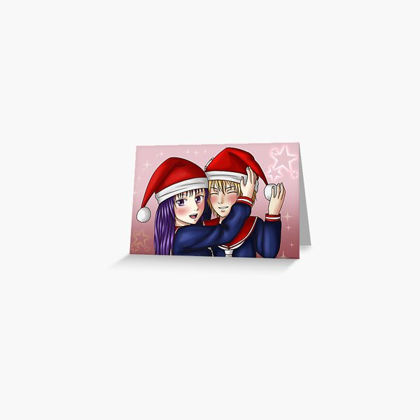 Christmas Anime Girls with Hats Greeting Card