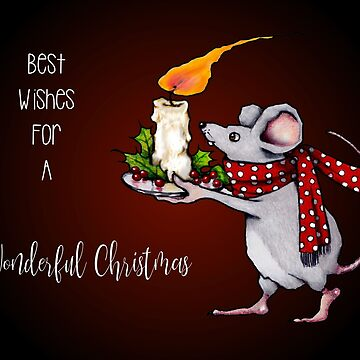 Mouse With Candle, Wonderful Christmas, Holiday Wish by Joyce