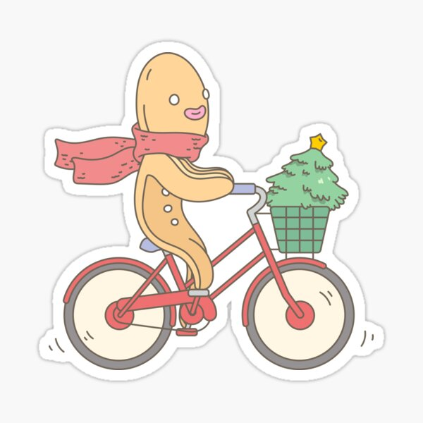 Biking Gingerbread Man Sticker