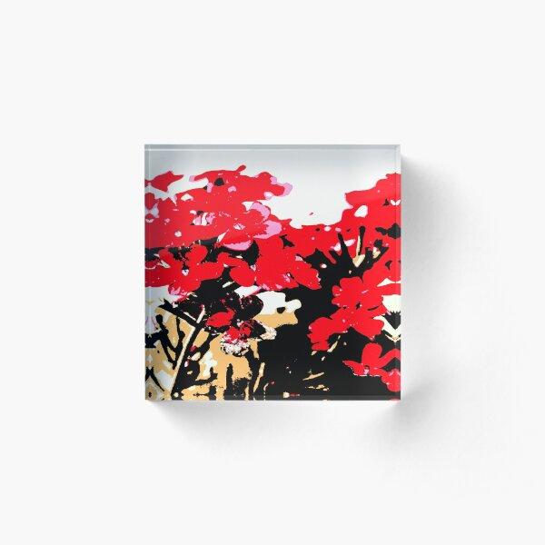 Rote Blumen Garten Acrylblock
