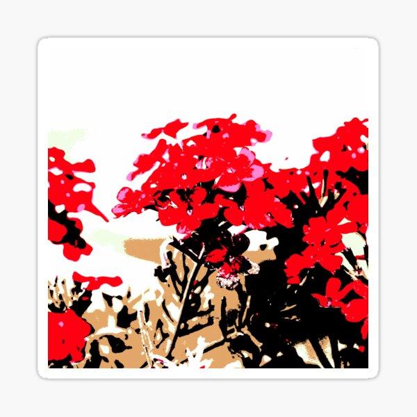 Rote Blumen Garten Sticker