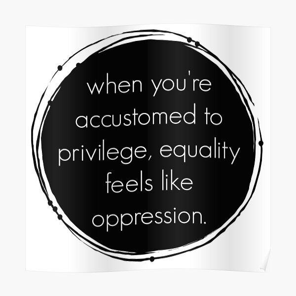 Privilege + equality = oppression? Poster