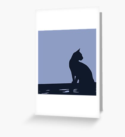 Black Cat  Sitting On the Fence Greeting Card