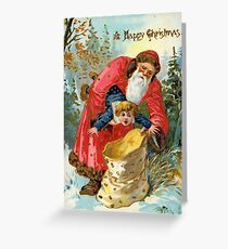 Victorian Santa Stuffing Child into Sack Christmas Greeting Card