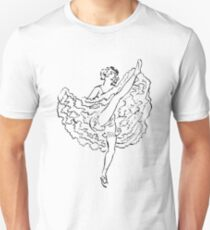 French Showgirl Vintage Drawing Sketch Unisex T-Shirt