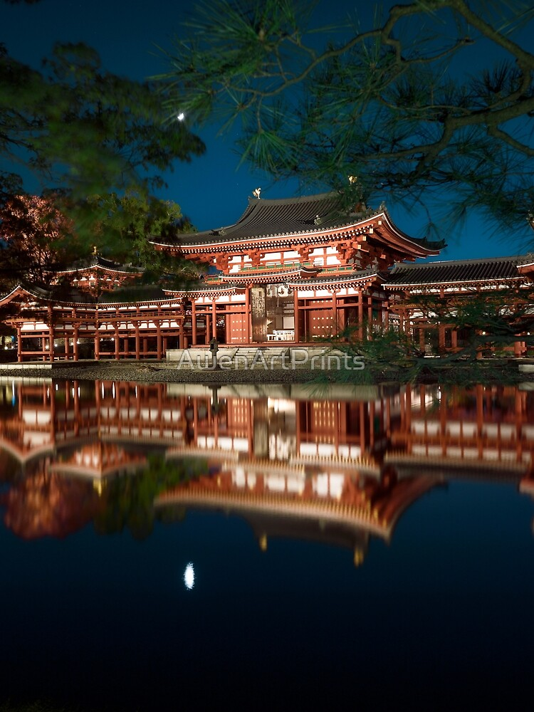 Byodoin temple Phoenix Hall illuminated with lights in nighttime scenery reflecting in calm water of garden pond art photo print by AwenArtPrints