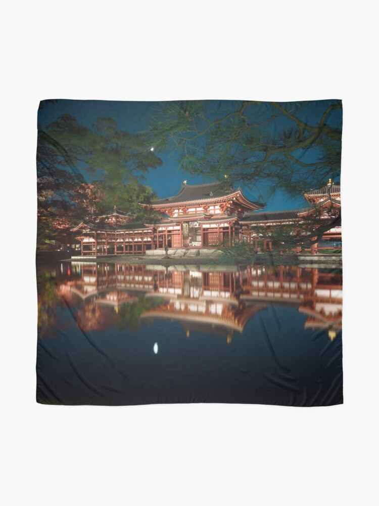Alternate view of Byodoin temple Phoenix Hall illuminated with lights in nighttime scenery reflecting in calm water of garden pond art photo print Scarf